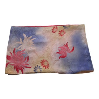 Vintage Silk Obi Textile With Flowers in a Fade Blue Palette Double Sided For Sale