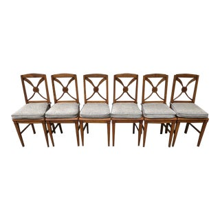 Marked Down! French Oak Chairs With Wheat Sheaf Back - Set of 6