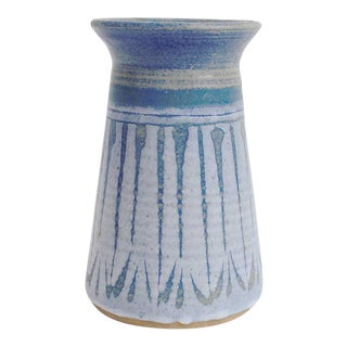 Mid Century Blue Studio Pottery Vase For Sale