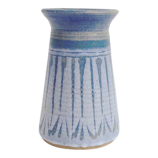 Mid Century Blue Studio Pottery Vase For Sale