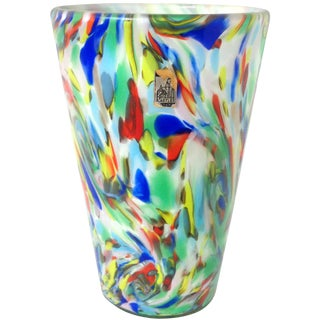 Fratelli Toso Murano Rainbow Color Swirls Italian Art Glass Flower Vase For Sale