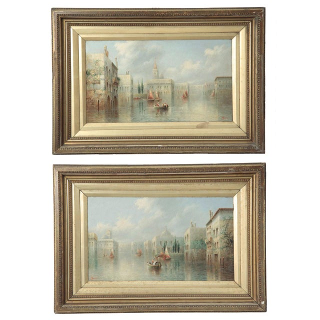 British Grand Canal Venice Antique Oil Paintings by James Salt - a Pair For Sale - Image 11 of 11