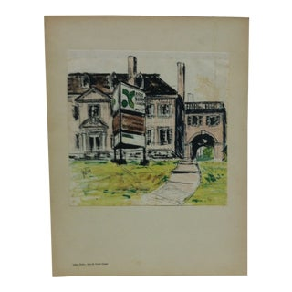 "Mounted Color Pittsburgh Print, ""Arts & Crafts Center"" by Julius Kahn - 1969 For Sale"