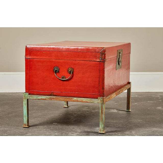 Asian Red Lacquer Pig-Skin Leather Camphor Trunk on Stand For Sale - Image 3 of 9
