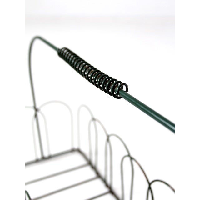 Black Vintage Wire Metal Handled Basket For Sale - Image 8 of 8