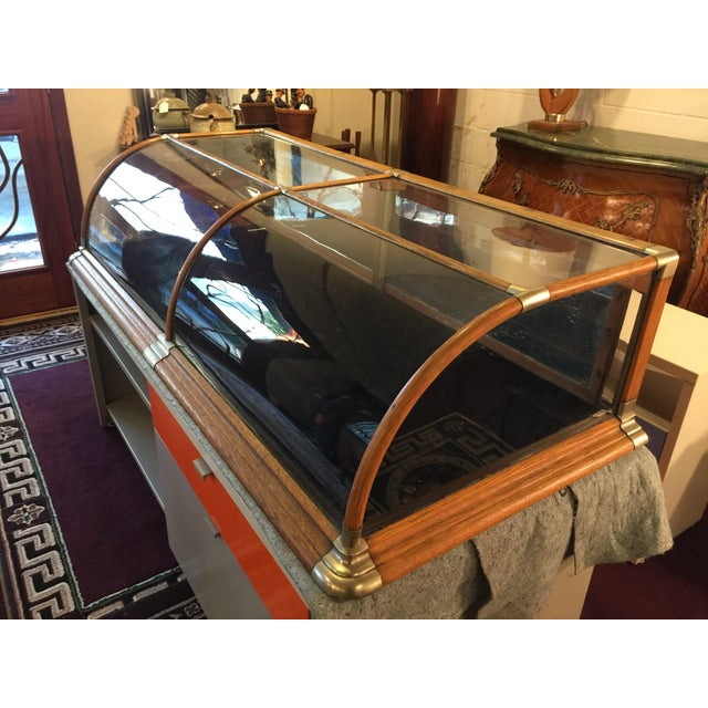Glass Antique Mercantile Curved Glass Display Case For Sale - Image 7 of 7