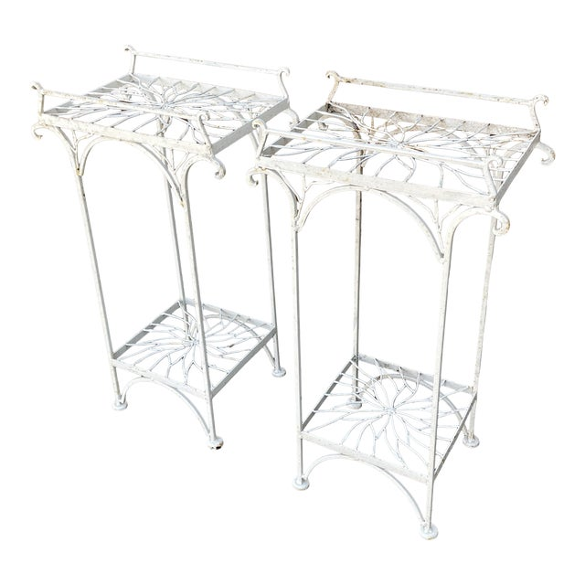 Mid 20th Century Metal Plant Stands or Tables - a Pair For Sale