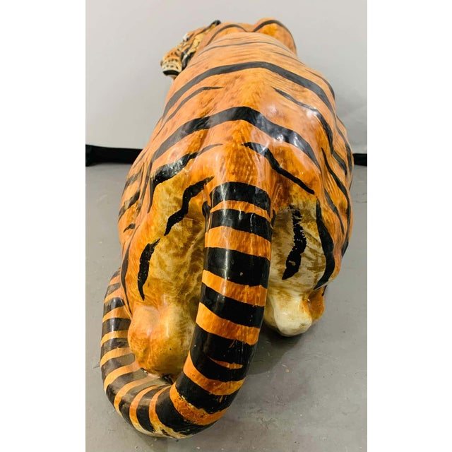 Midcentury Italian Terracotta Tiger Statue or Sculpture For Sale - Image 11 of 12
