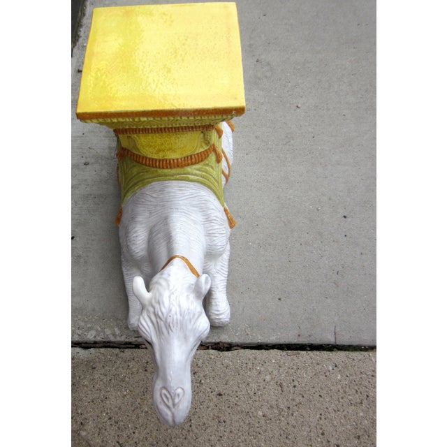 1970s Vintage Italian Majolica Glazed Terra Cotta Ceramic White and Yellow Hand Painted Camel Statue Garden Seat For Sale In Chicago - Image 6 of 11