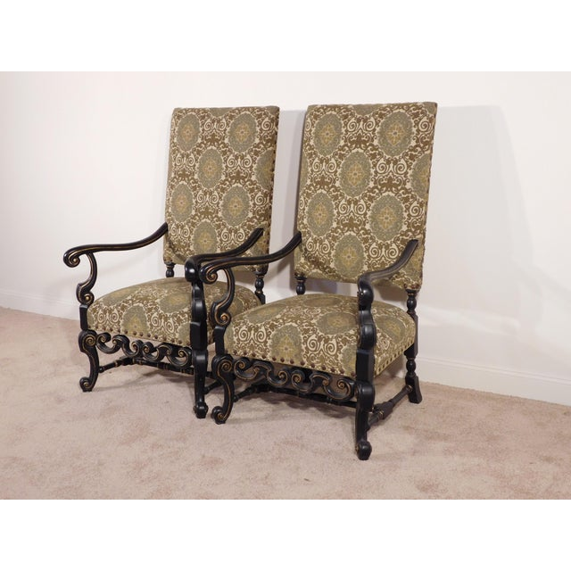 Maitland Smith William & Mary Ebony W Gold Gilt Accents Fireside Arm Chairs - a Pair For Sale In South Bend - Image 6 of 13