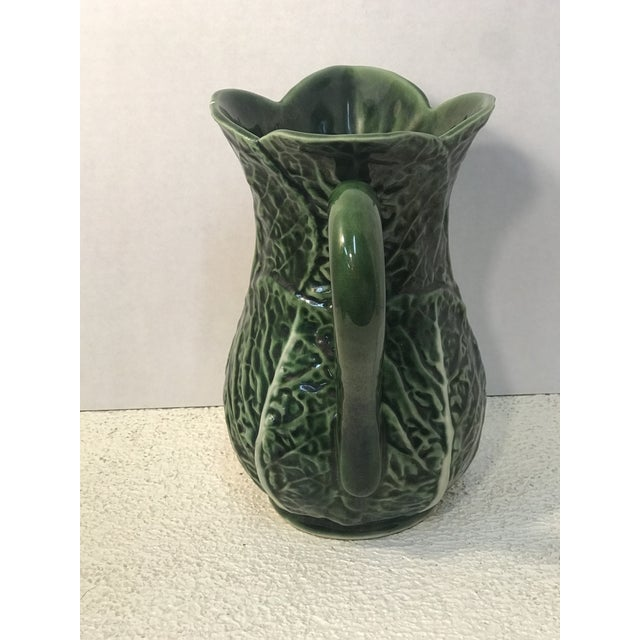Mediterranean Vintage Green Cabbage Majolica Pitcher For Sale - Image 3 of 7