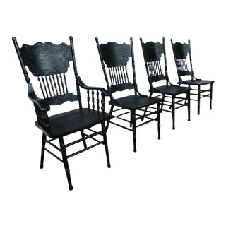 Set of 4 Black Press Back Windsor Chairs