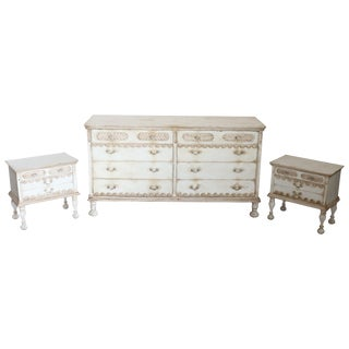 20th Century Italian Country Lacquered Commode and Two Nightstand For Sale