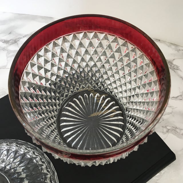 Hobnail Glass Ruby Flash Ice Bucket For Sale - Image 10 of 11
