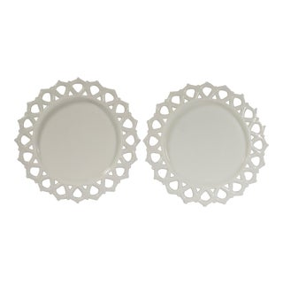 1950s Cottage Milk Glass Plates - a Pair For Sale