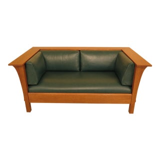 Stickley Mission Oak Arts & Crafts Leather Loveseat Sofa