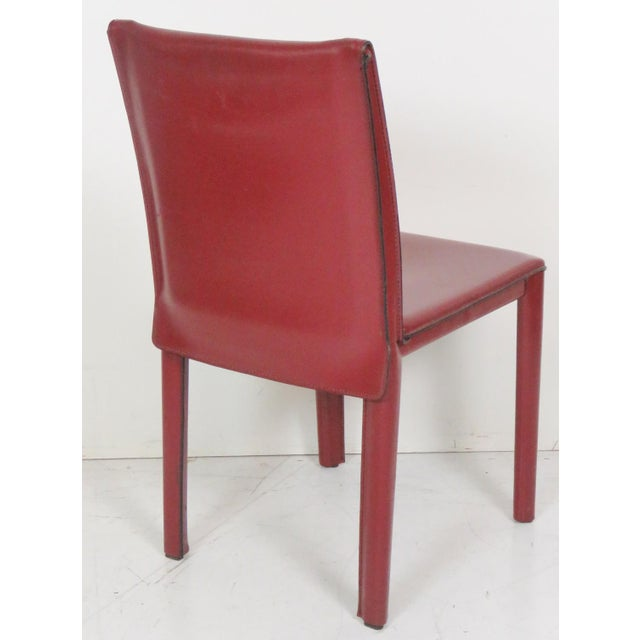 Casillas Red Leather Side Chairs - Set of 6 - Image 5 of 5