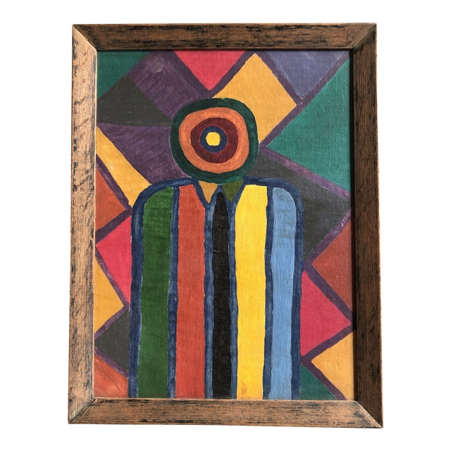 Original 1950's Abstract Modernist Original Painting Vivian Stern For Sale