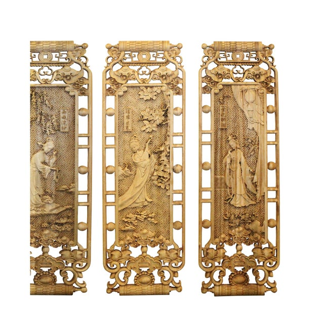 Chinese Set of 4 Rectangular Four Beauties Wooden Wall Plaque Panels For Sale In San Francisco - Image 6 of 8