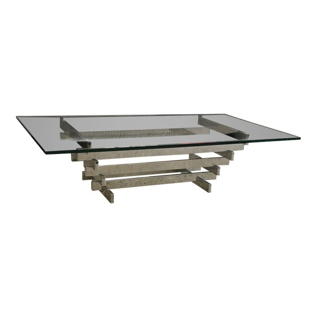 "Silver 1960s Modern David Hicks Stacked ""Sculpture"" Table For Sale - Image 8 of 8"