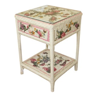 Decoupage Floral Wicker Night Table Stand