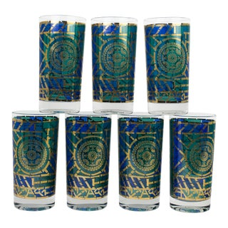 Vintage Green and Blue Glasses - Set of 7 For Sale