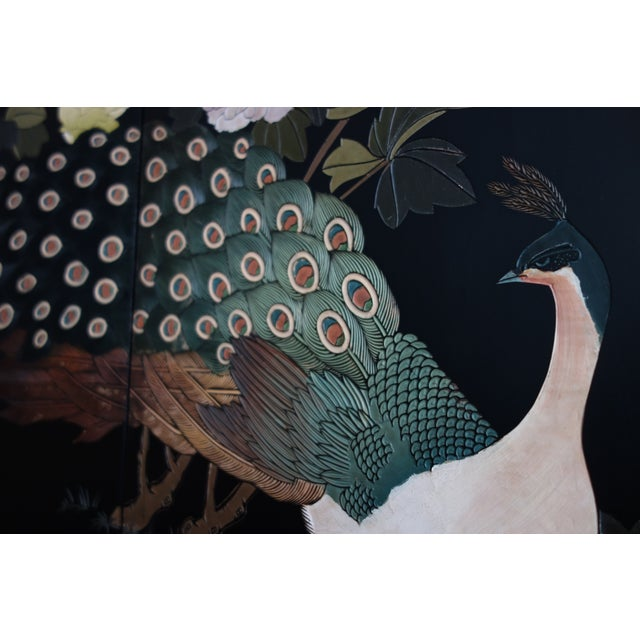 Vintage Chinese 6 - Panel Peacock Screen For Sale - Image 4 of 10