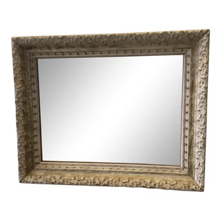 Vintage Rectangular Mirror With Distressed Frame For Sale