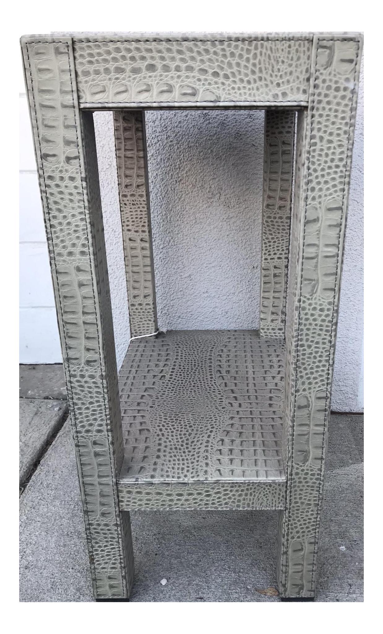 Gray Crocodile Leather Side Table