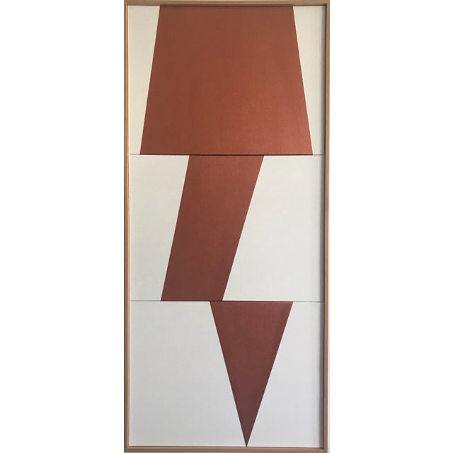 "Original Acrylic Painting ""Copper Jagged Triptych JET0491"" For Sale - Image 5 of 5"