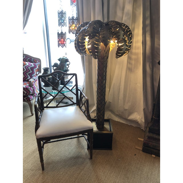Boho Chic Eichholtz Handcrafted Vintage Brass Finish Palm Tree Floor Lamp For Sale - Image 3 of 12