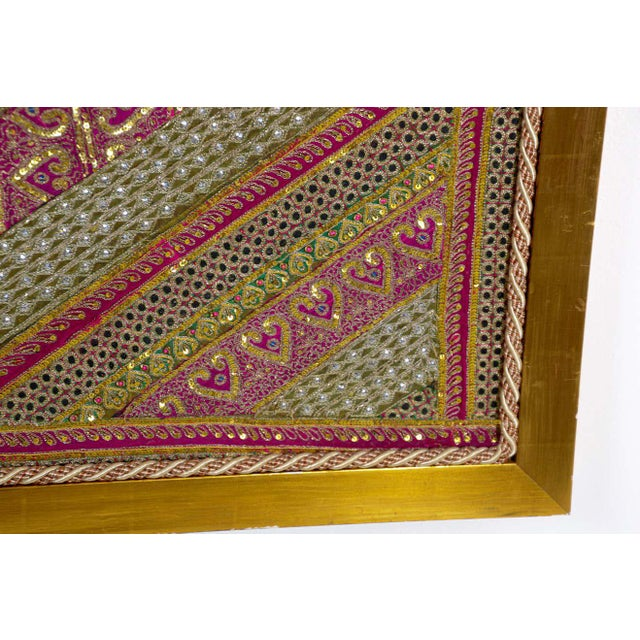 Folk Art Mughal Style Metal Threaded Tapestry Framed from Rajasthan, India For Sale - Image 3 of 13