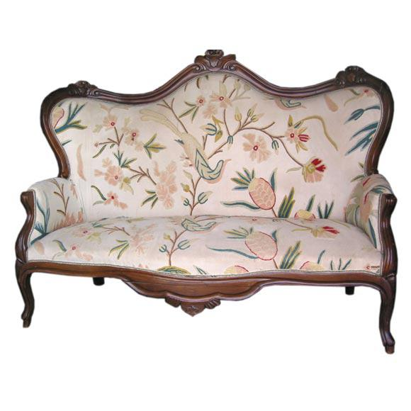 Early 20th Century 19th C. Italian Walnut Settee with Original Upholstery For Sale - Image 5 of 5
