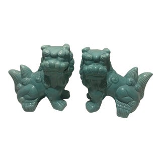Medium Turquoise Foo Dogs – a Pair