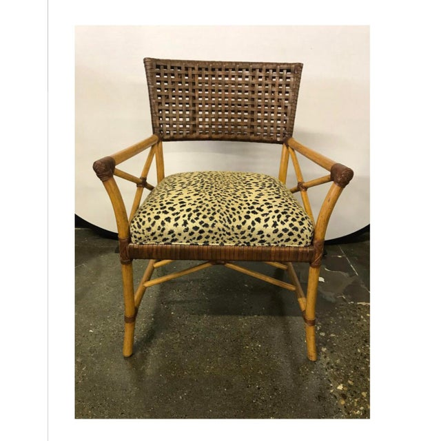 Hickory White Woven Leather and Bamboo Dining Chairs With Round Wood Table Set For Sale In New York - Image 6 of 13
