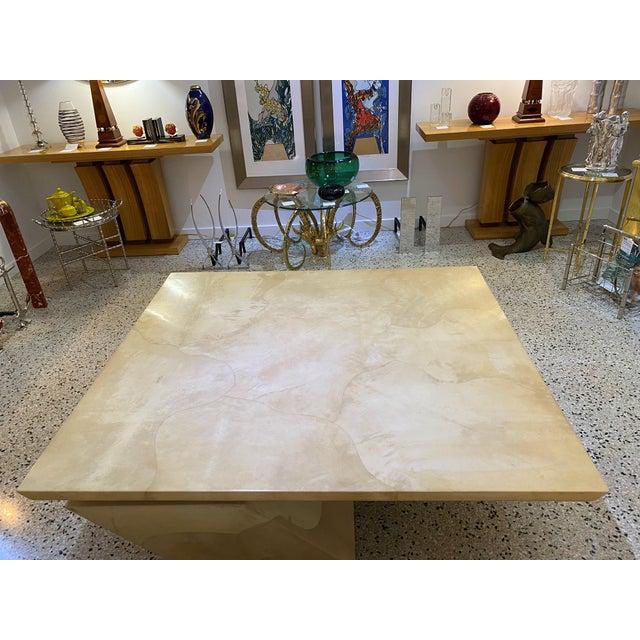 Mid-Century Modern Karl Springer Style Goatskin Cocktail Table For Sale - Image 3 of 13
