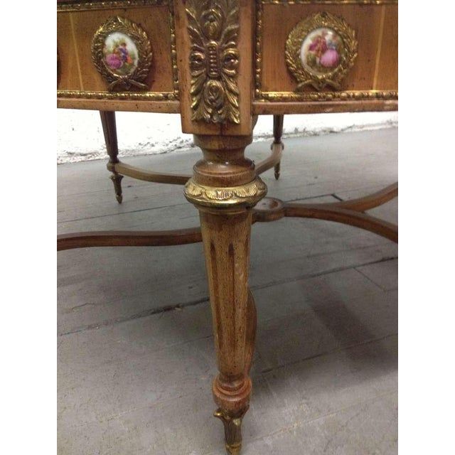 Antique French Coffee Table with Porcelain Sevres Plaques For Sale - Image 4 of 8