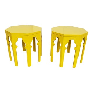 Pair of Marrocan Style Lacker in Arabian Yellow Color End Tables. For Sale