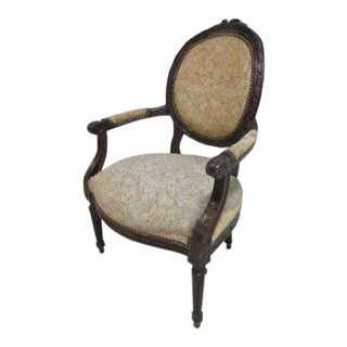 Antique Victorian Tapestry Arm Chair