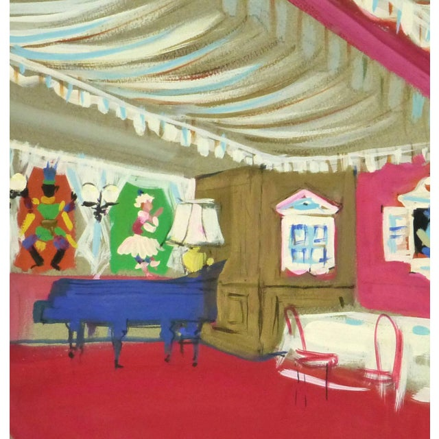 Excellent gouache of the interior of a Parisian cabaret filled with vivid, feminine furnishings and decor by AM. Rémy,...