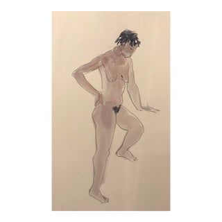 1980s Contemporary Watercolor of Standing Female Nude For Sale