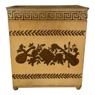 Mid-Century Tole Wastebasket With Musical Instrument Theme and Greek Key Pattern For Sale