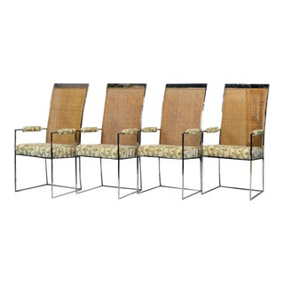 Set of Four Milo Baughman for Thayer Coggins Chrome and Cane Dining Arm Chairs For Sale