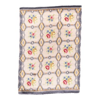 Vintage European Floral Garden Design Rug For Sale