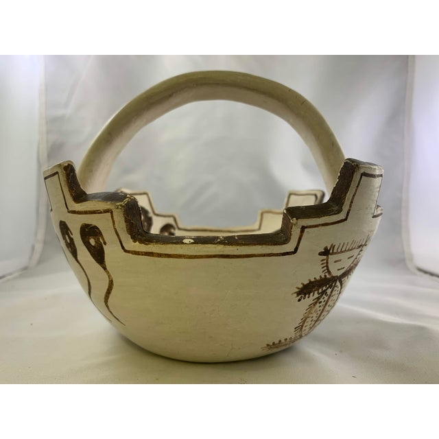 Rustic Jennie Laate Southwestern Prayer Bowl With Handle For Sale - Image 3 of 13