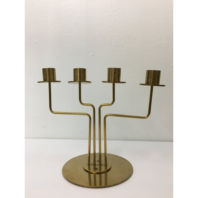 Mid-Century Modern Style 4-Arm Brass Candelabra For Sale - Image 12 of 12
