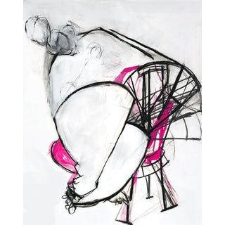 Contemporary Abstract Nude Figure Painting on Paper For Sale