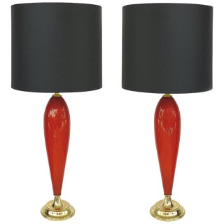 Murano Glass Mid-Century Modern Handblown Lamps With Brass Bases and Shades For Sale
