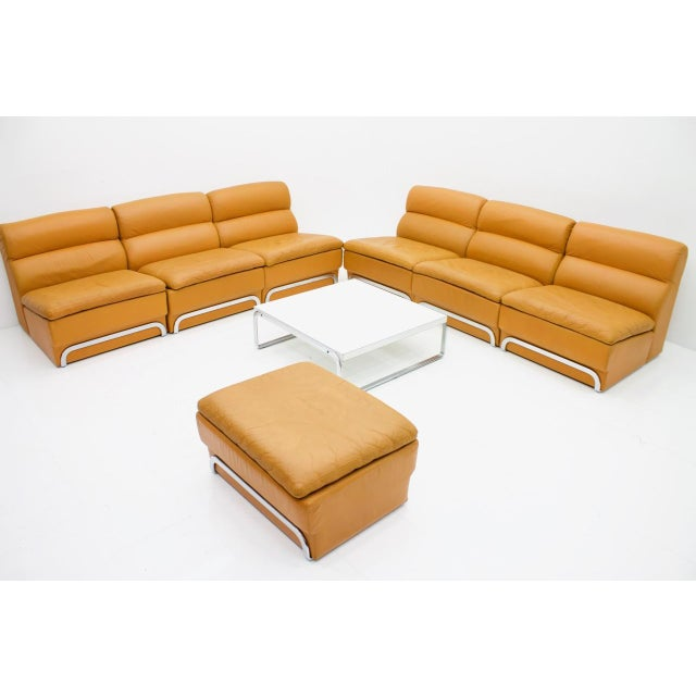 Metal Modular Seating Group & Coffee Table Leather Sofa by Horst Brüning for Kill 1970 For Sale - Image 7 of 12