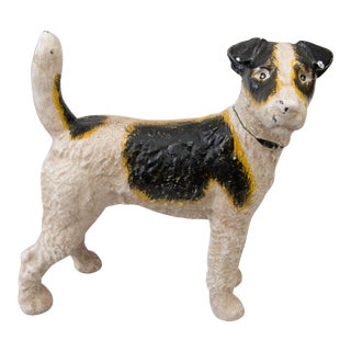 Early Hubley Cast Iron Fox Terrier Dog Doorstop For Sale
